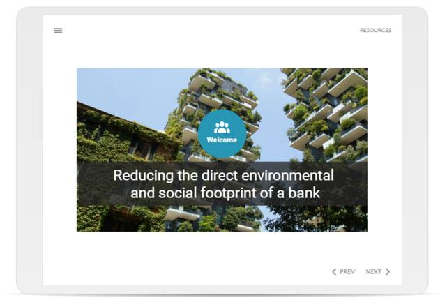 Reducing the direct environmental and social footprint of a bank