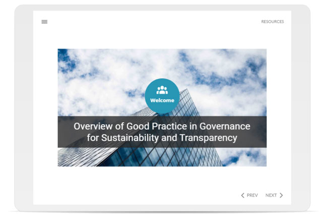 Overview of Good Practice in Governance for Sustainability and Transparency